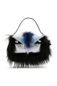 Fendi Black/Blue Python with Swaroski:Fox and Mink Fur Baguette Bag - Spring 2014
