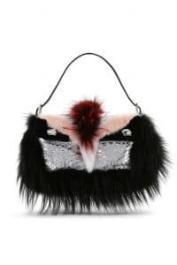 Fendi Black/Pink Python with Swaroski:Fox and Mink Fur Baguette Bag - Spring 2014