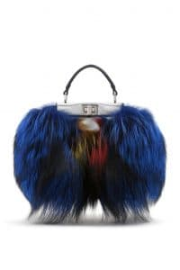 Fendi Blue Fox Fur Peekaboo Mini Bag - Spring 2014