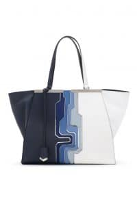 Fendi Blue Multicolor Circuit Inlay 3Jours Tote Large Bag - Spring 2014