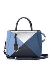 Fendi Blue Multicolor Geometric 3D 2Jours Tote Small Bag - Spring 2014