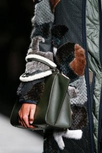 Fendi Green 3jours Tote bag with White Shearling Handle - Fall 2014