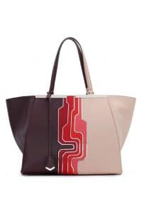 Fendi Maroon Multicolor Circuit Inlay 3Jours Tote Large Bag - Spring 2014