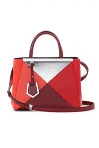 Fendi Red Multicolor Geometric 3D 2Jours Tote Small Bag - Spring 2014
