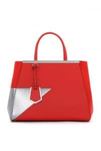 Fendi Red/Silver 2Jours Tote Bag - Spring 2014