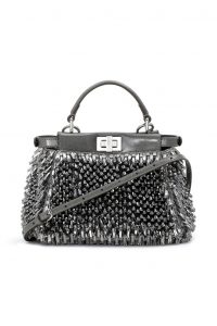 Fendi Silver Embellished Peekaboo Mini Bag - Spring 2014