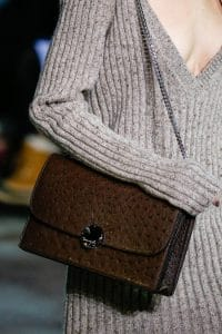 Marc Jacobs Brown Ostrich Chained Flap Bag - Fall 2014