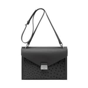 Mulberry Pavement Grey Velvet Calf and Ostrich Kensal Shoulder Bag