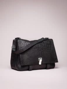 Proenza Schouler Black Crocodile PS Courier Bag - Spring 2014