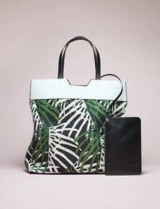 Proenza Schouler Green/Black Leaf Print Paper Bag Tote - Spring 2014