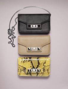 Proenza Schouler Grey Chalkboard/Beige/Yellow Python PS11 Chain Wallet Bags - Spring 2014