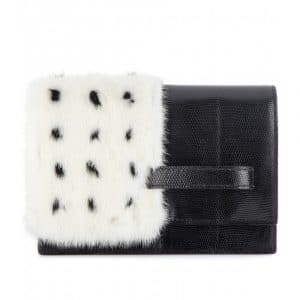 Valentino Black/White Mink and Lizard My Own Code Clutch Bag