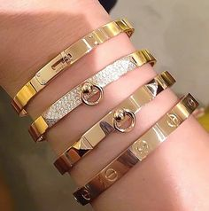Cartier Love Stacked Bracelets
