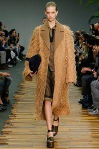 Celine Tan Fringed Tailored Coat - Fall 2014 Runway
