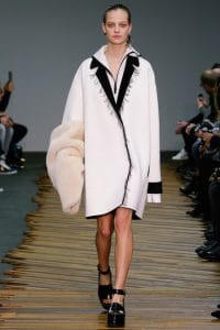 Celine White Coat with Black Fringed Collar - Fall 2014 Runway