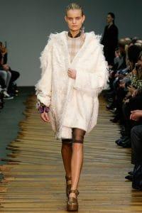 Celine White Fringed Coat - Fall 2014 Runway