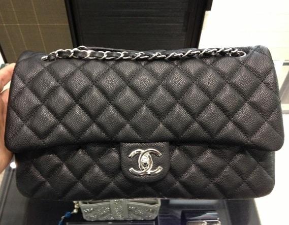 Chanel Black Easy Caviar Jumbo Chanel Flap Bag 2014