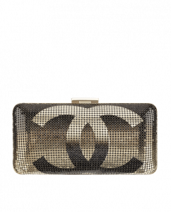 Chanel Black/Gold Hand Painted Metallic CC Minaudiere Clutch Bag