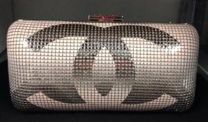 Chanel Black/Silver Hand Painted Metallic CC Minaudiere Clutch Bag