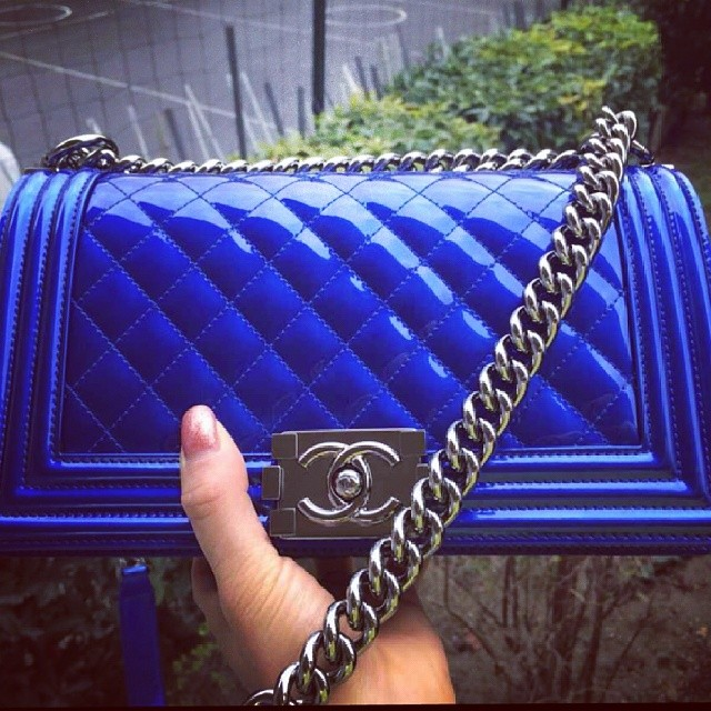 Chanel Boy Bag Purple Chanel Blue Metallic Boy Bag