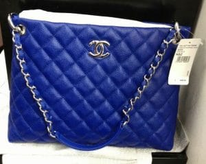 Chanel Cobalt Blue Easy Caviar Tote Bag