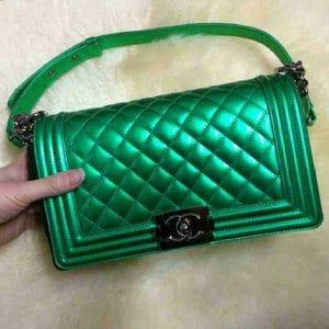 Chanel Green Metallic Boy Bag - Spring Summer 2014
