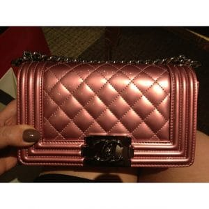 Chanel Light Pink Metallic Mini Boy Bag - Spring Summer 2014