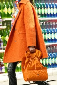 Chanel Orange Flap Bag Drawstring Interior - Fall 2014