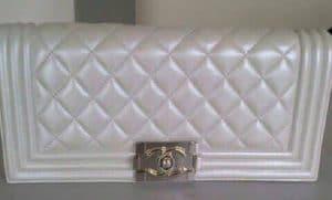 Chanel Silver Boy Flap Clutch Bag