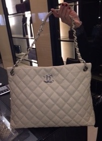 Chanel White Easy Caviar Tote Bag