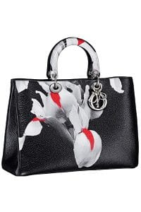 Dior Black/Red/White Floral Print Diorissimo Bag