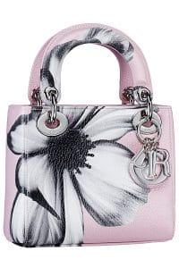 Dior Pink/White/Black Floral Print Lady Dior Bag