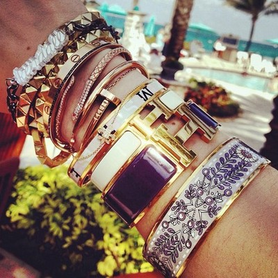 Hermes Enamel H And Printed Bracelets