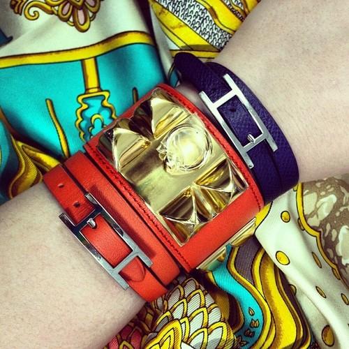 Hermes Stacked Bracelets