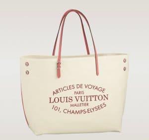 Louis Vuitton Corail Pink GM Cabas Canvas Bag - Articles De Voyage
