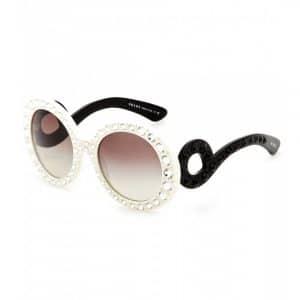 Prada Minimal Baroque Sunglasses with Embellishment