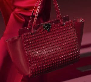 Valentino Red All Over Rockstud Tote Bag - Collection Shanghai 2013