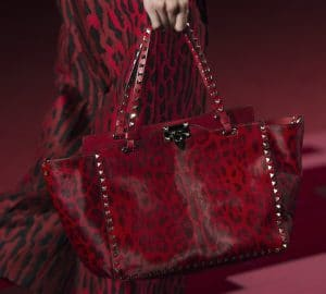 Valentino Red Leopard Print Pony Skin Rockstud Tote Bag - Collection Shanghai 2013
