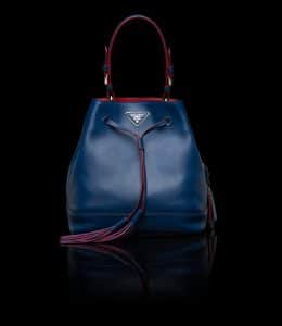 Prada Cornflower Blue All-Leather Bucket Bag