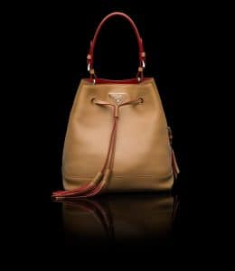 Prada Caramel All-Leather Bucket Bag