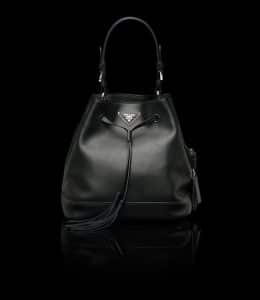 Prada Black All-Leather Bucket Bag