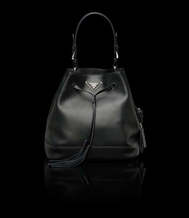 prada leather bucket handbag