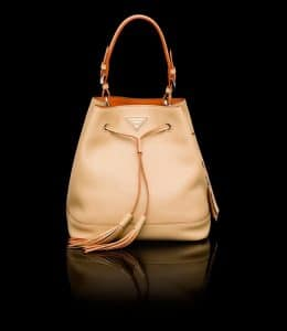 Prada Hazelnut All-Leather Bucket Bag