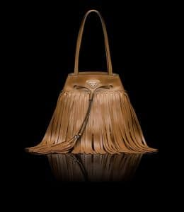 Prada Cinnamon Fringe Bucket Bag