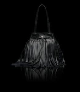 Prada Black Fringe Bucket Bag