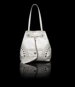 Prada White Studded Bucket Bag