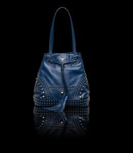 Prada Cornflower Blue Studded Bucket Bag