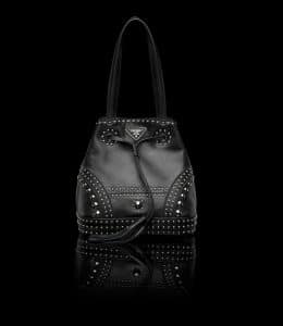 Prada Black Studded Bucket Bag