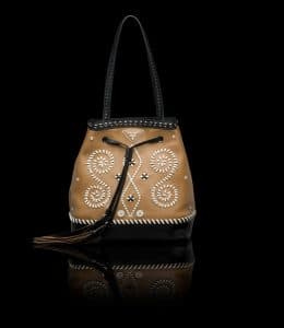 Prada Caramel Embroidered Bucket Bag