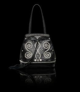 Prada Black Embroidered Bucket Bag